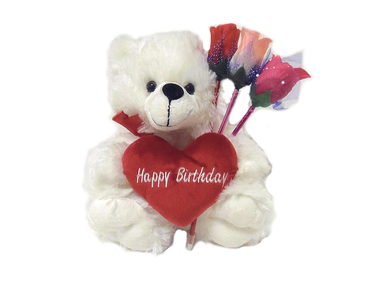 Amazon Happy Birthday Teddy Bear With Red Heart Three Flower