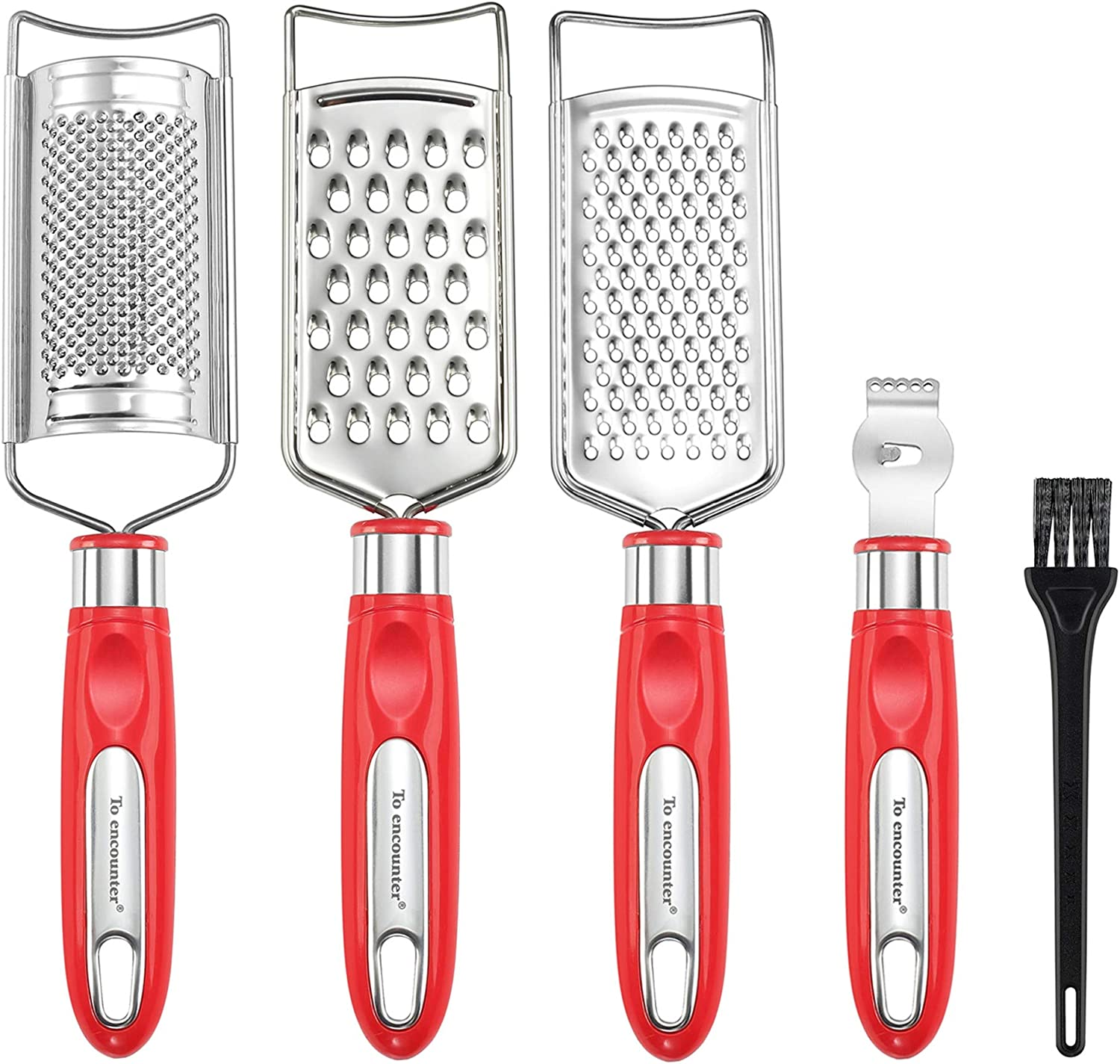 To encounter Cheese Grater Set, Set of 5 Food Grater for Vegetable, Fruit, Chocolate Stainless Steel Multi-purpose Kitchen Grater & Peeler & Slicer, Lemon Zester with Cleaning Brush (Red)