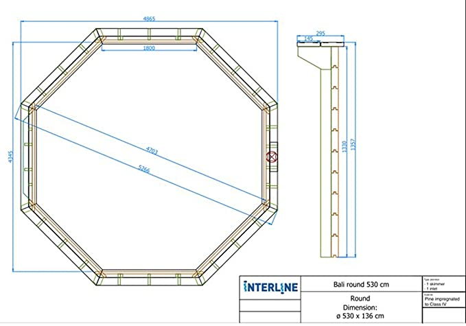 Interline 50700220 Pool Bali Madera pared de 8 rectangular, 5, 30m de diámetro x 1, 36m: Amazon.es: Jardín