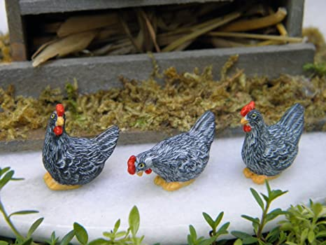 Magic Miniature Dollhouse Fairy Garden Set Of 3 Tiny ½ Scale Gray Hen  Chickens Mini Garden