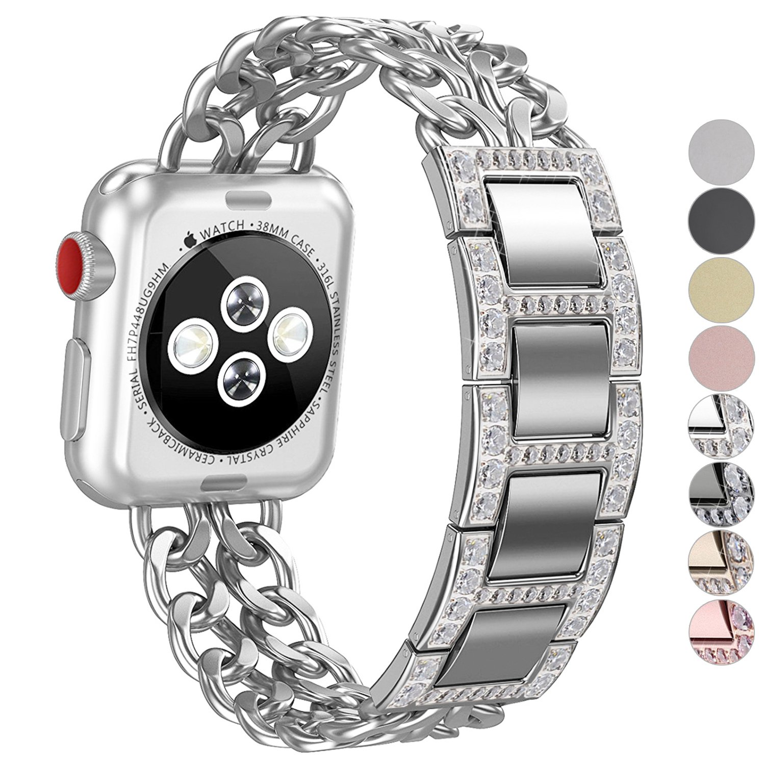 Apple Watch Band, No1seller Premium Stainless Steel Cowboy Style Bracelet Watch Band Strap for Apple Watch Series 3, Series 2, Series 1