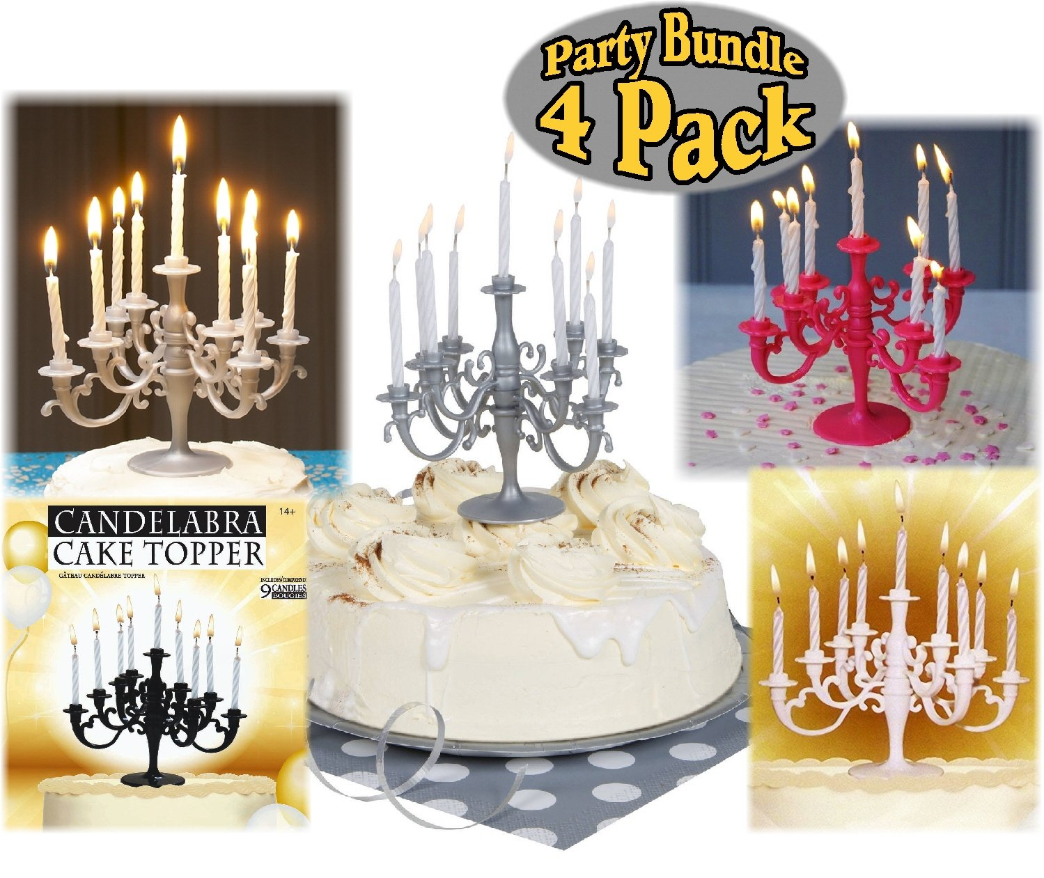 Amazon Candelabra Cake Topper Candle Holders Silver Black White Pink Gift Set Party Bundle With Exclusive Mattys Toy Stop Storage Bag