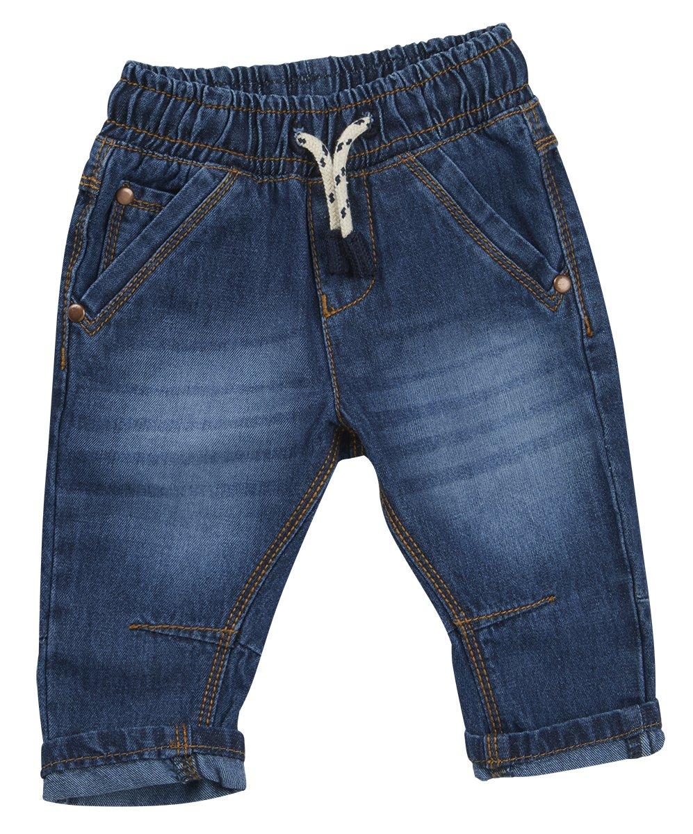 BABY TOWN Baby Boys Denim Jeans Infant Toddlers Kids Denim Style Fashion Basic Jeans Pants DARK DENIM)