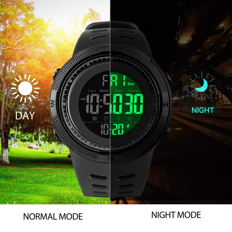 Amazon.com: Reloj digital deportivo para hombre, LED militar ...