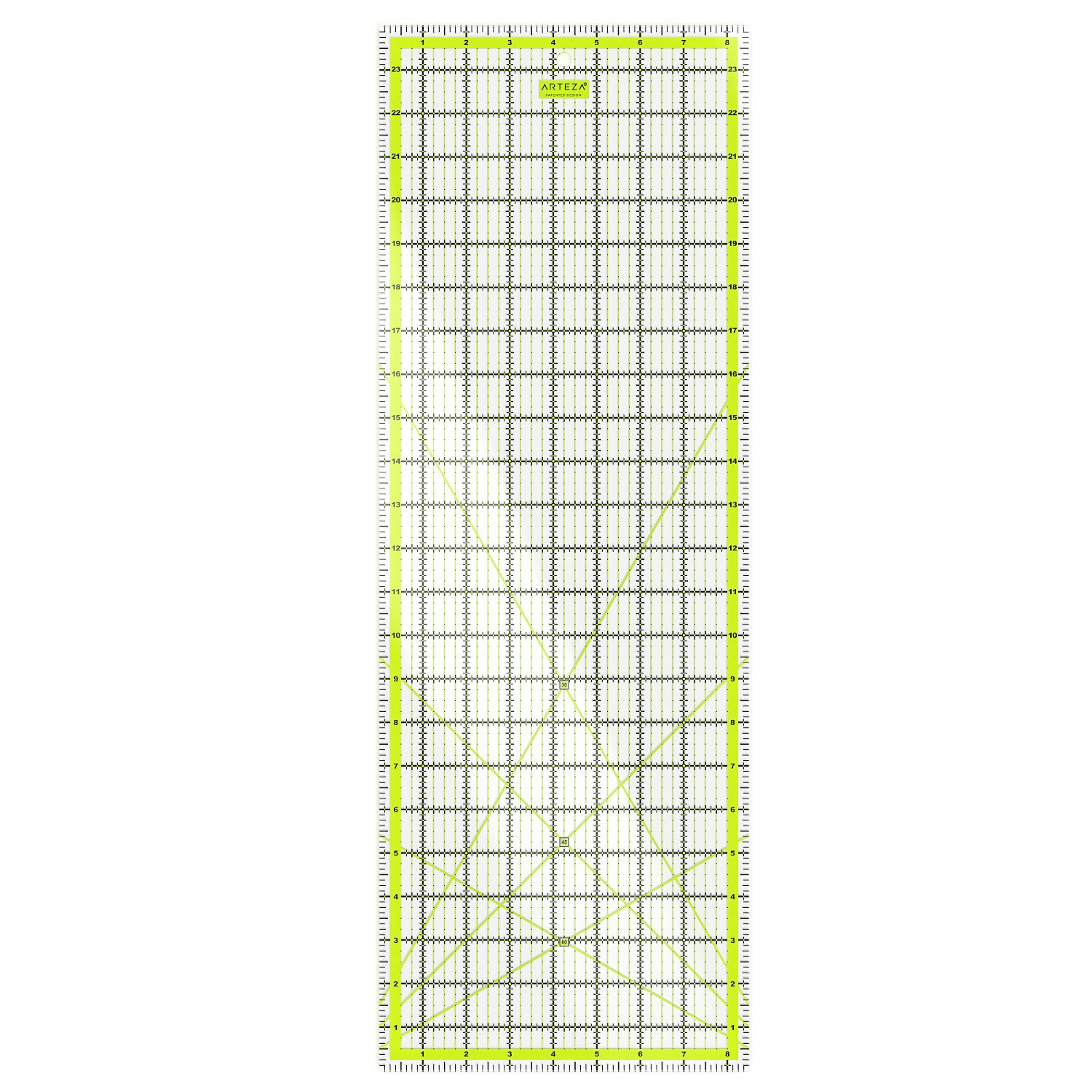 ARTEZA Quilting Ruler, Laser Cut Acrylic Quilters' Ruler with Patented Double Colored Grid Lines for Easy Precision Cutting, 8.5 Wide x 24 Long for Quilting, Sewing & Crafts, Black & Lime Green ARTZ-8134