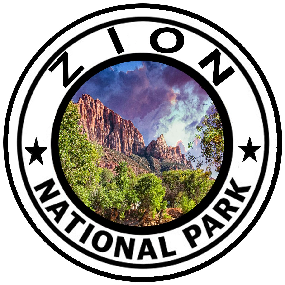 Rogue River Tactical Zion National Park Sticker 5 Round Car Auto Decal Utah Canyon KDWVMA2577