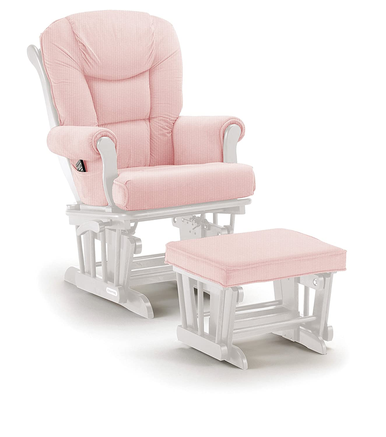 Shermag Glider Rocker Combo, White with Pickwick Pink 37779CB.15.1015