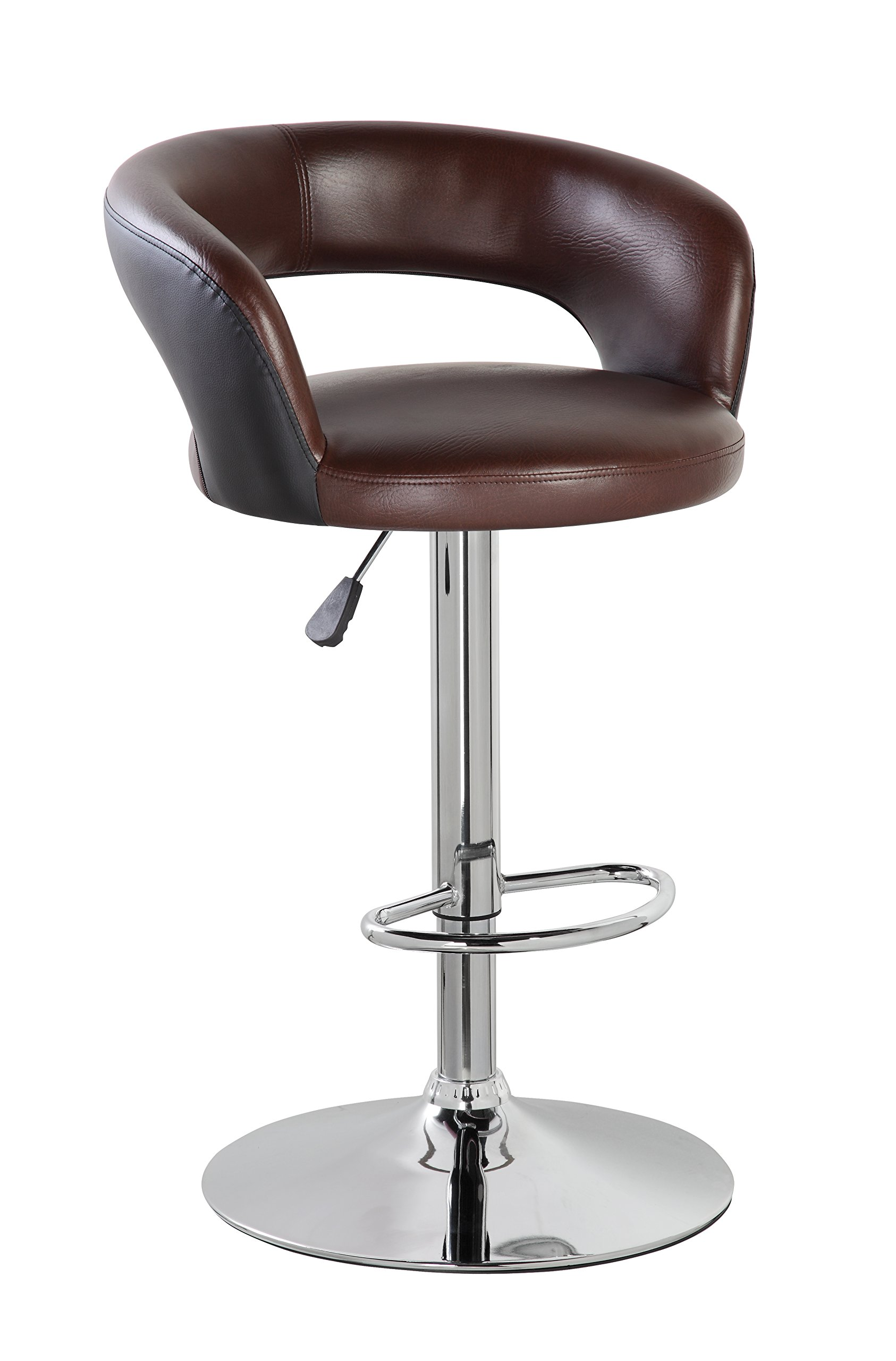 KERLAND Adjustable Bar Stool with Back, Modern PU Leather Barstool Kitchen Swivel Counter Height Bar Stools Chair with Chrome Footrest (Brown)