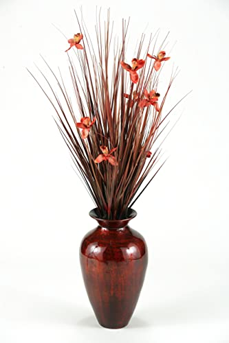 D W Silks D W Silks Brown Ting with Burgundy Blossoms in Burnt Copper Spun Bamboo Vase
