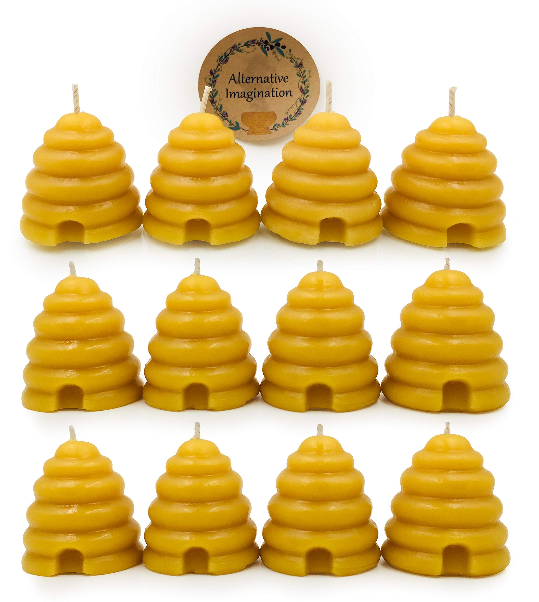 Alternative Imagination Beehive Votive Candle, Hand Poured Beeswax (Pack of 12)