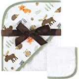 Hudson Baby Unisex Baby Cotton Hooded Towel and Washcloth, Woodland, One Size