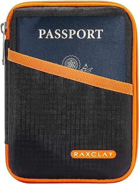 Porte-passeport de voyage RFID compact /étui cartes de cr/édit portefeuille 2/ème g/én/ération Nouveau mod/èle 2020 13 compartiments Monnaie organiseur fermeture /éclair blind/ée anti-clonage RAXCLAY/®