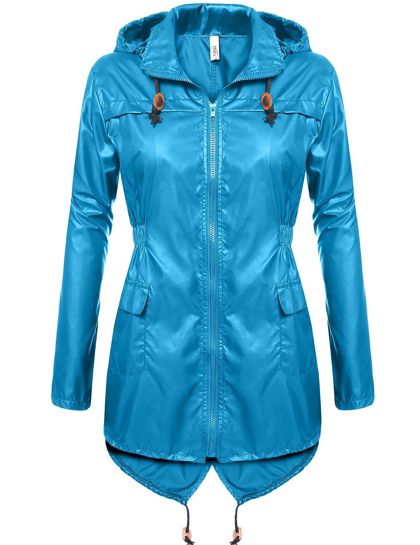 Meaneor Women's Fishtail Waterproof Raincoat Dot Cute Outdoor Hooded Rain Jacket