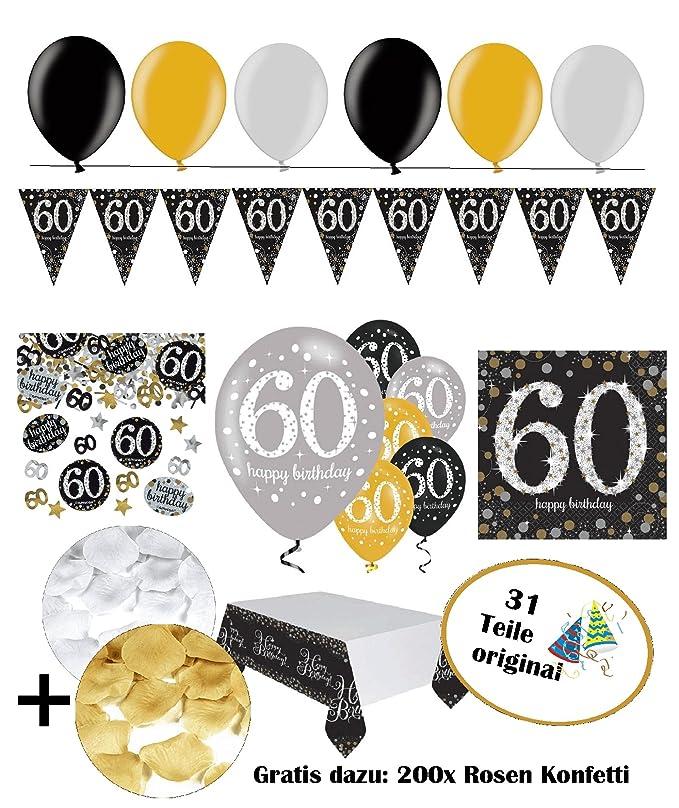 Feste Feiern Zum 60 Geburtstag | 31 Teile Luftballon Wimpel Blüten ...