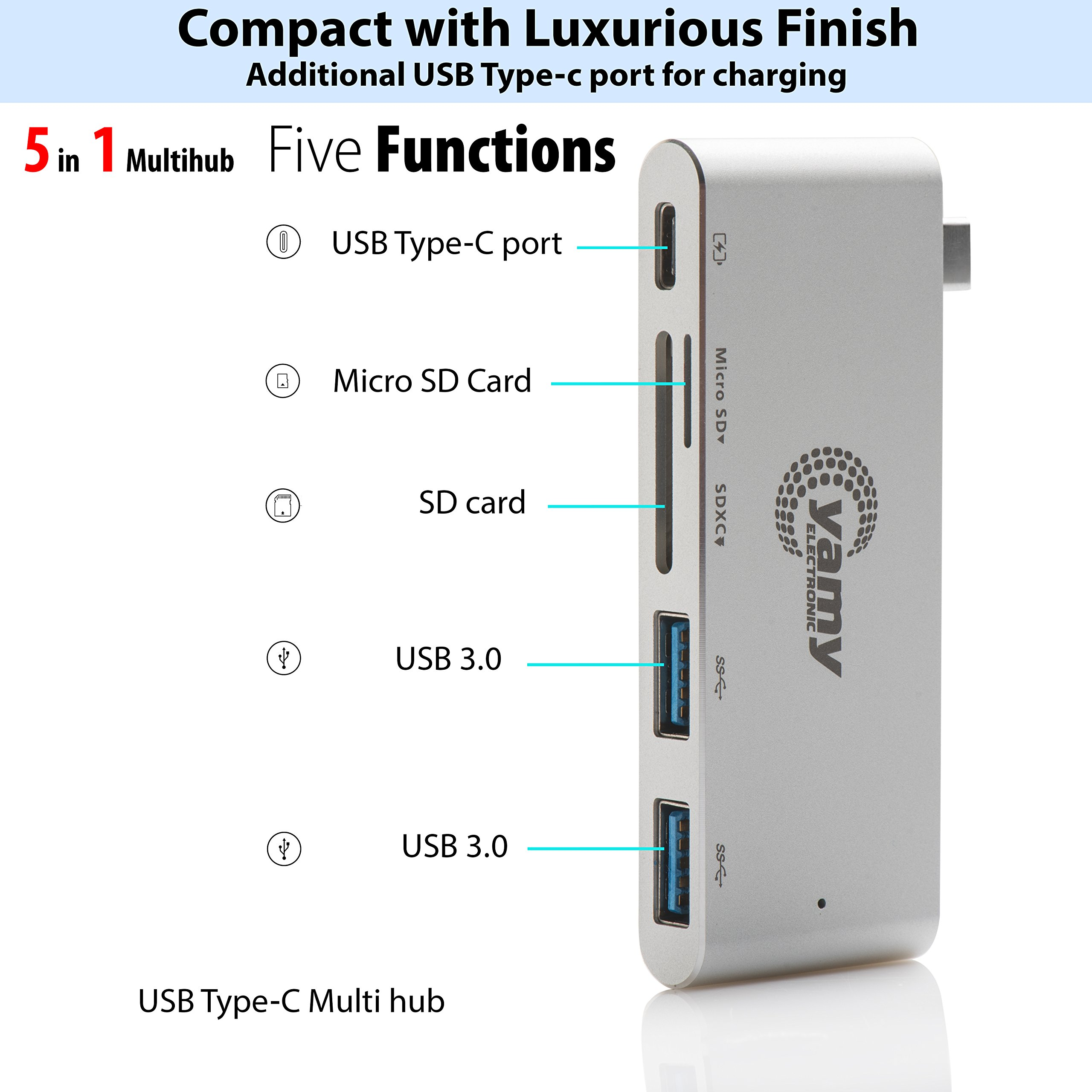 C-yamy Aluminum Charging Multi Hub USB-C,5-in-1 Adapter, Power Delivery & 2 USB 3.0 ports, SD Memory card Port,Tf/MicroSD Memory Card for All-new MacBook and Pro, All USB-C Devices (Silver) by c-yamy (Image #3)