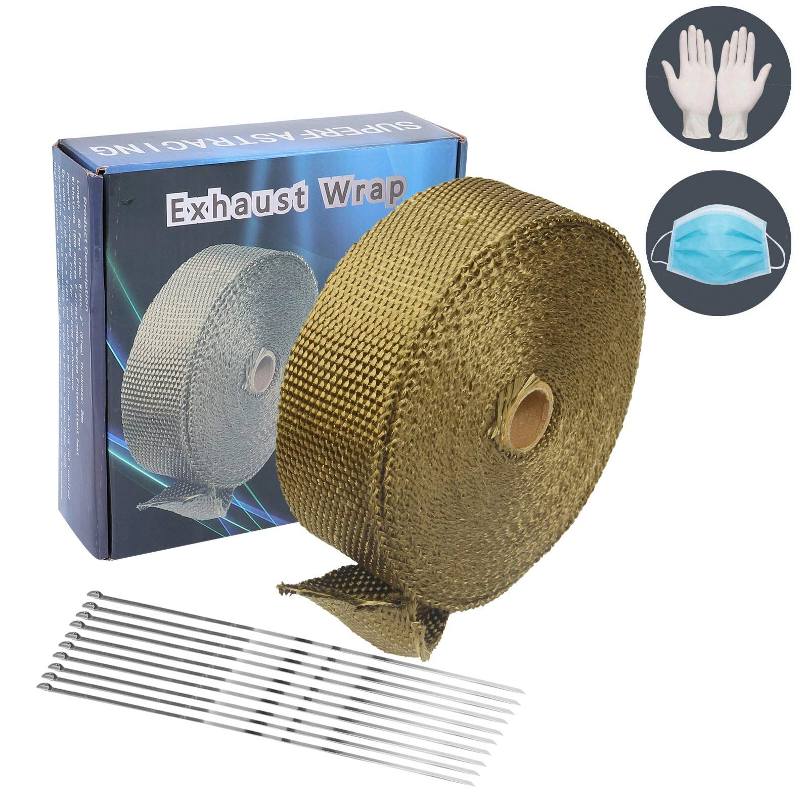 2 x 50 Titanium Exhaust Heat Wrap Roll for Motorcycle Basalt Heat Shield Tape with Stainless Ties