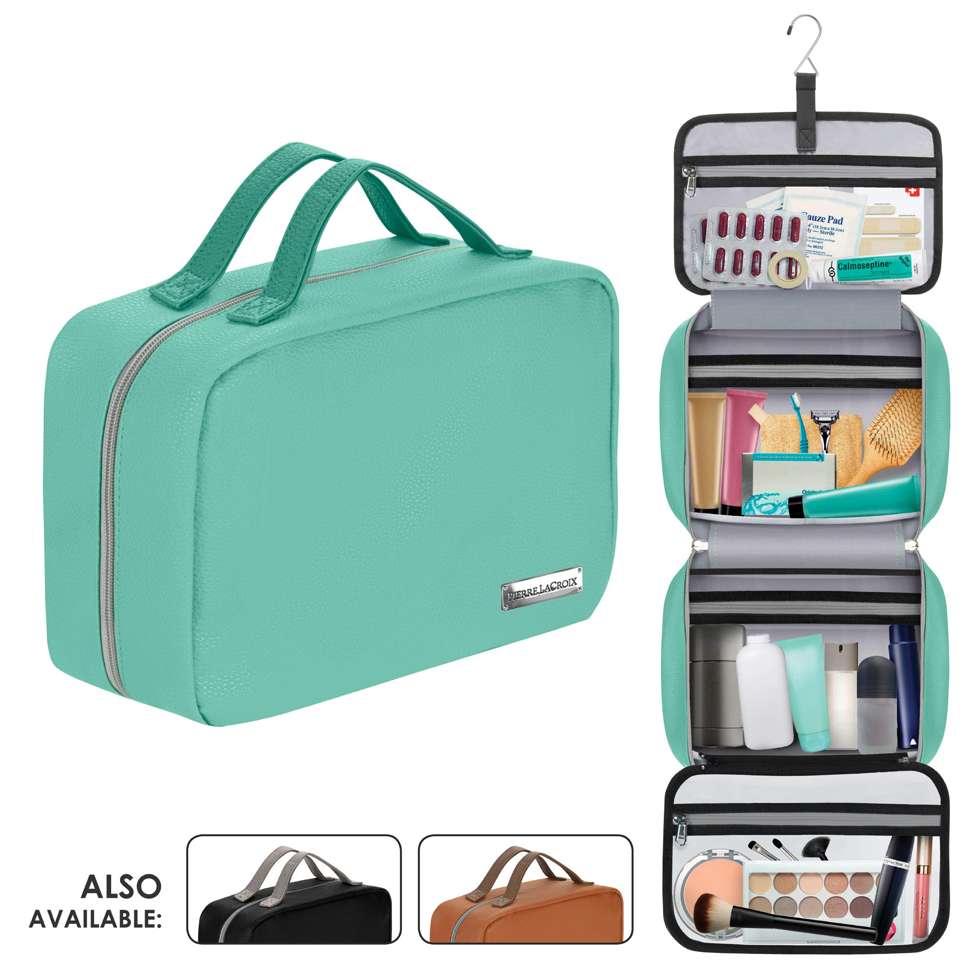 """Cruelty-Free Leather Hanging Travel Toiletry Bag for Men and Women 