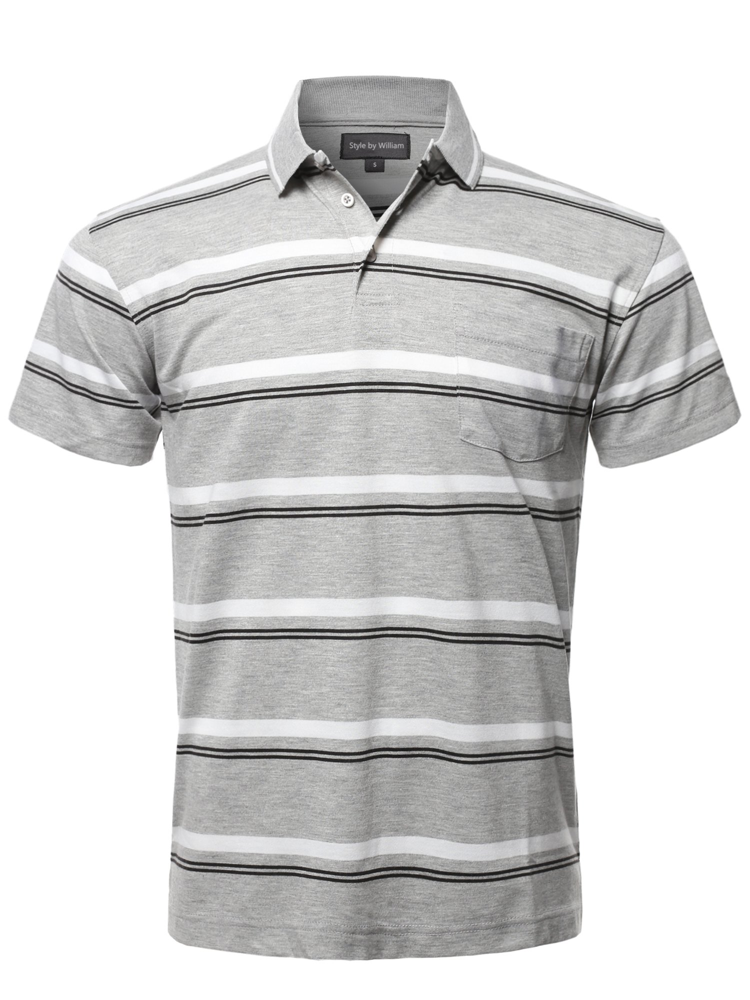 Style by William Casual Summer Basic Striped Chest Pocket Short Sleeve Polo T-Shirt Gray XL