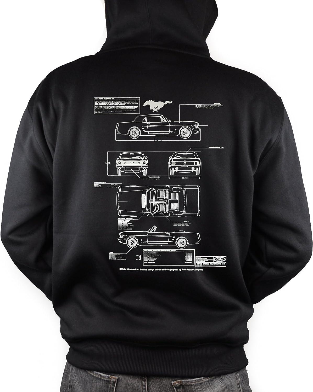 66 Ford Mustang GT Blueprint Zipper Hoodie