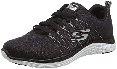 check out 12968 beaa1 Skechers (SKEES - Valeris - Baskets Sportives, Femme, Noir (BKW),