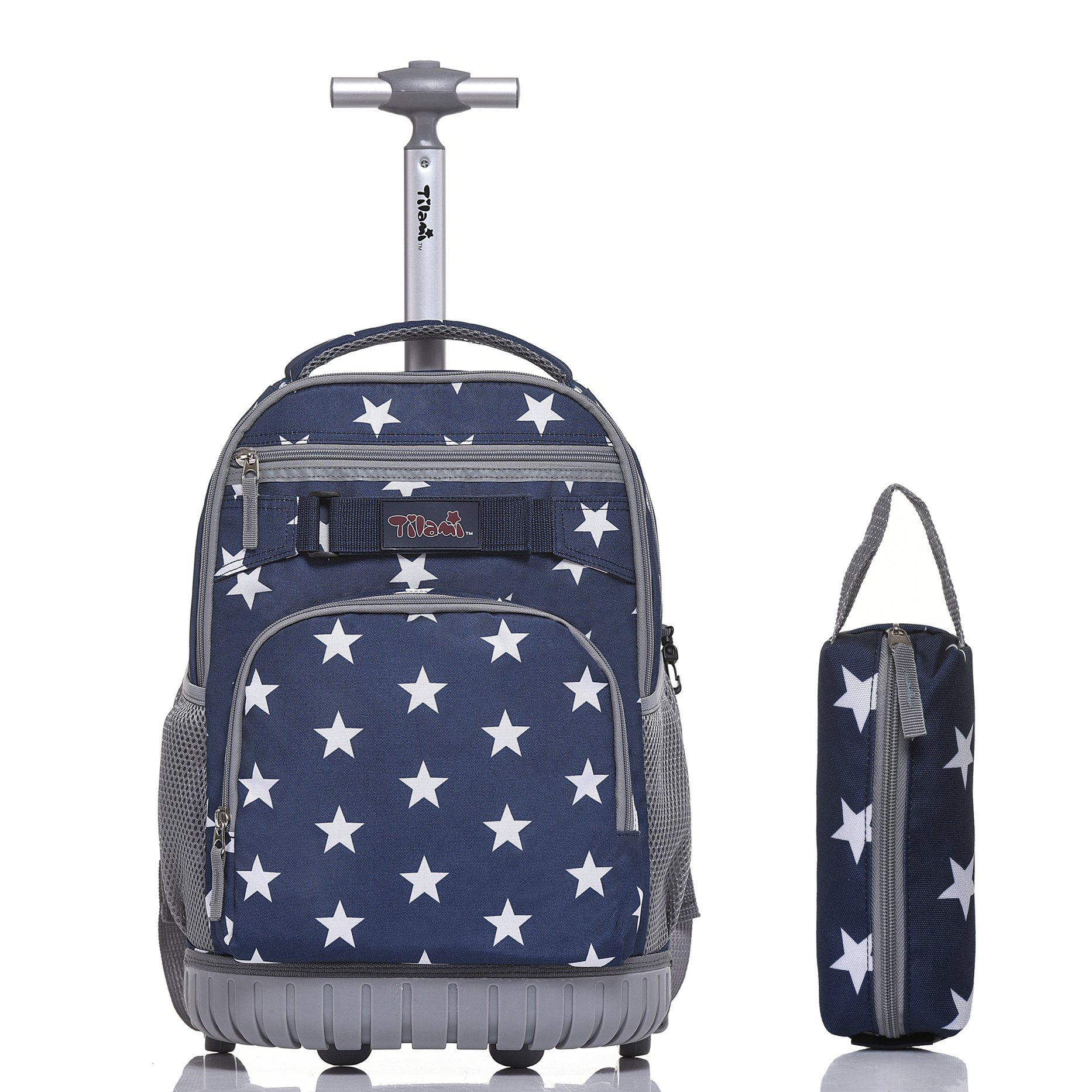 Tilami Rolling Backpack 18 Inch for School Travel with Pencil Case, Blue Star