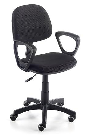 Due-home Silla de escritorio silla juvenil tapizado 3D, color negro