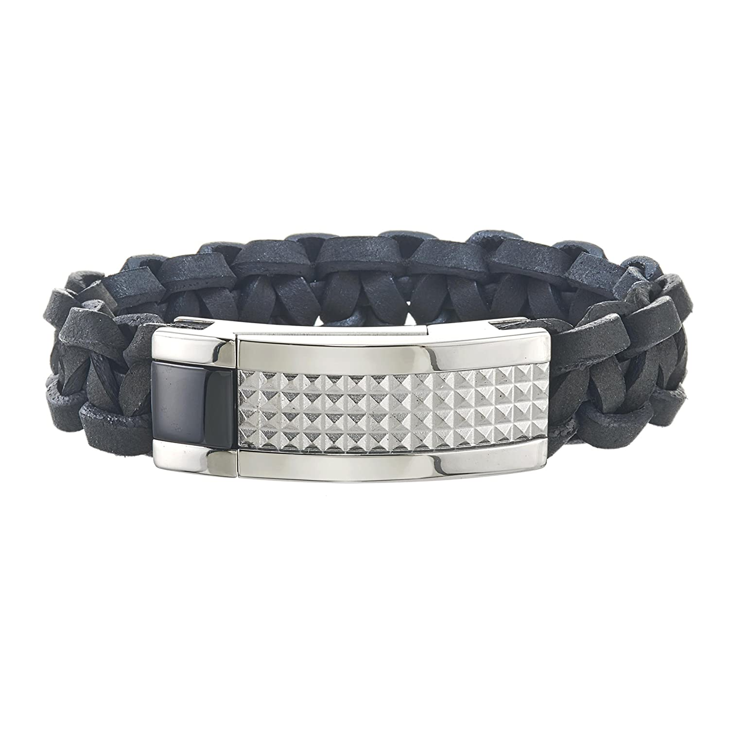 AX Jewelry Mens Stainless Steel Pyramid Black Leather Bracelet
