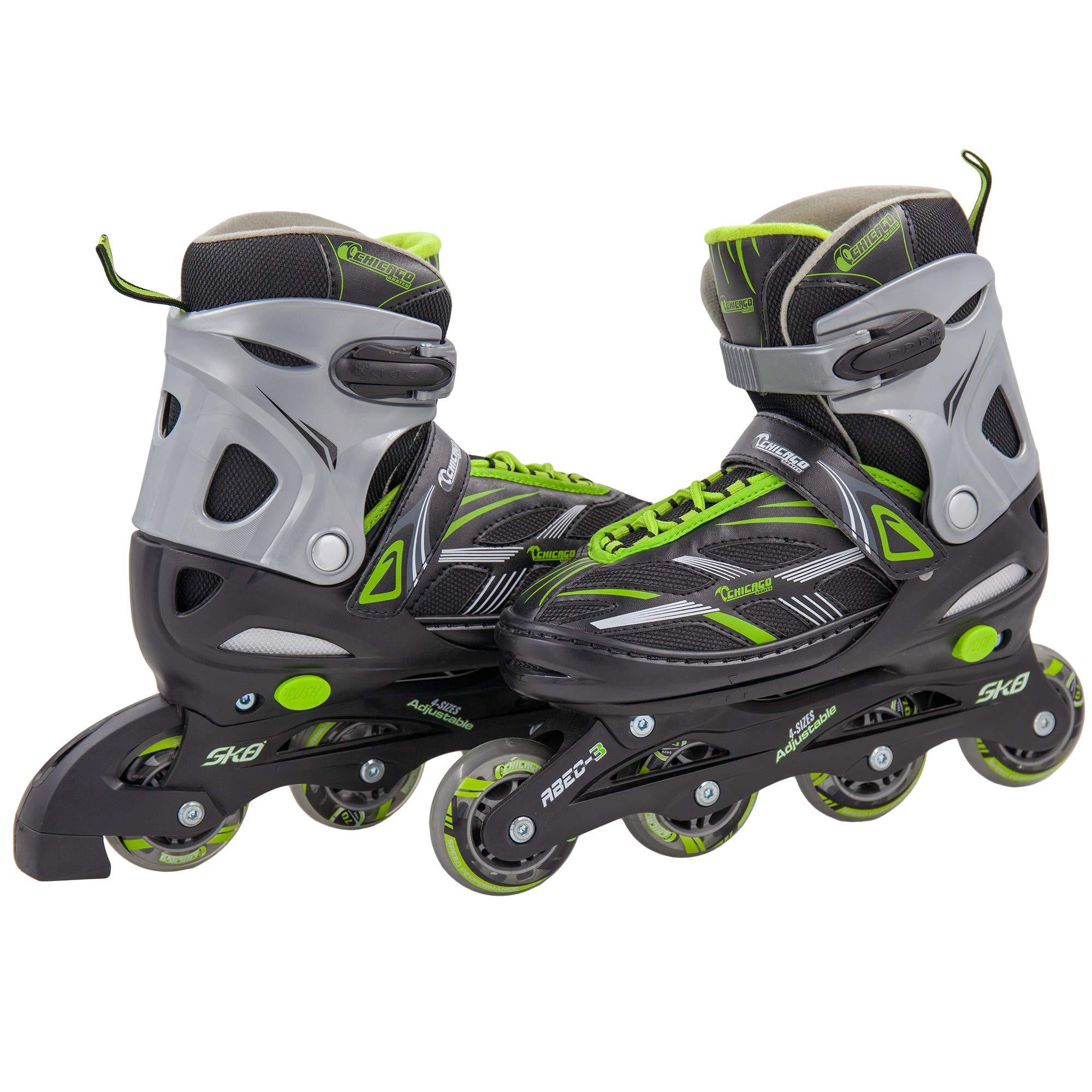 Chicago Boys Blazer Adjustable in Line Skate, Green, Large