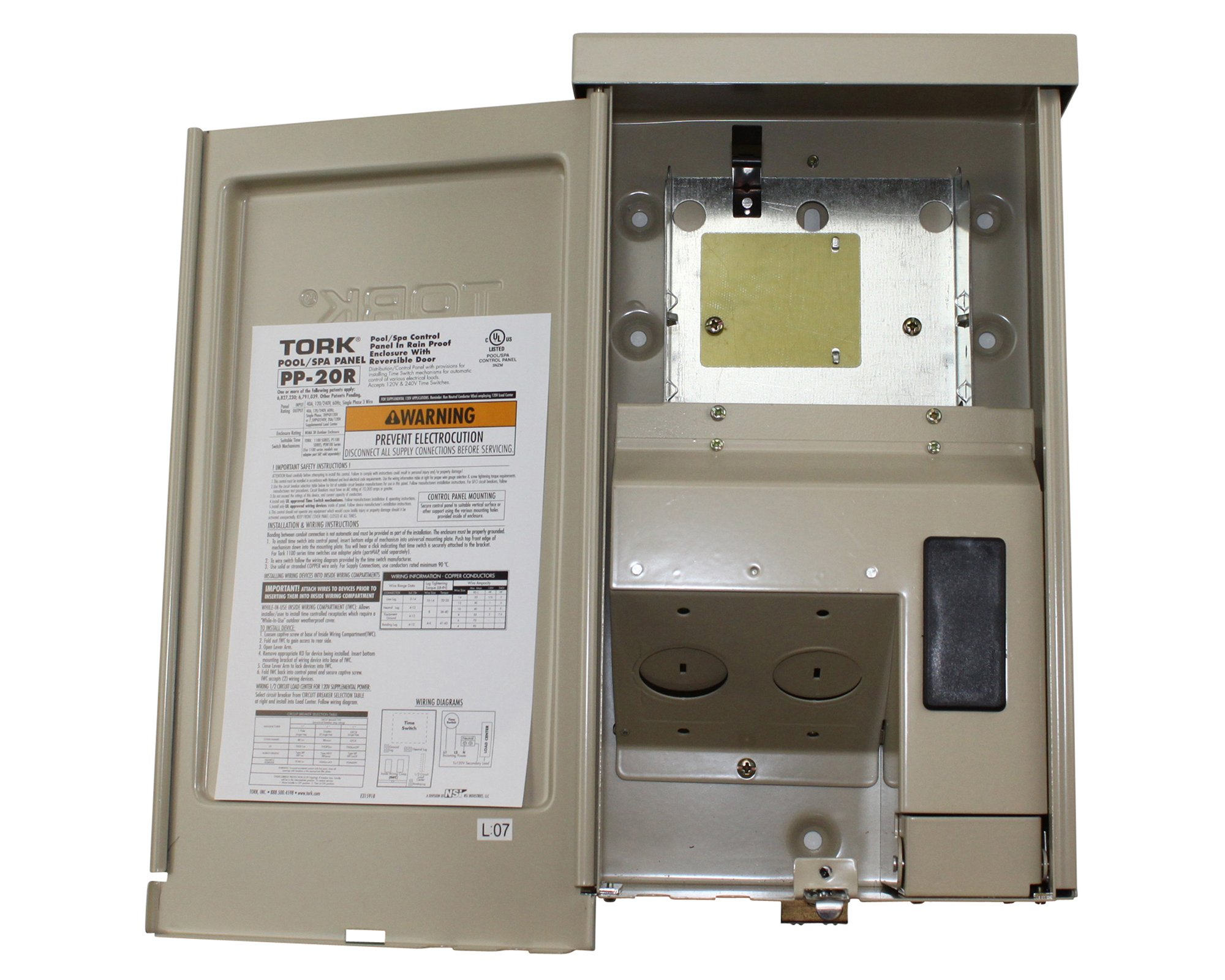 PP Panel Series Pool and Spa Control Panels with Time Swtich, (1) 120/240 VAC Control Input, 20 Amp, 1/2 Circuit Breaker Base