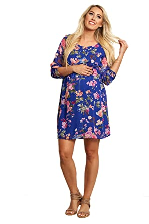 a94a90e61c5 PinkBlush Maternity Royal Floral 3 4 Sleeve Chiffon Dress at Amazon Women s  Clothing store