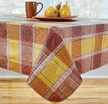 Morocco Flannel Backed Vinyl Tablecloth Indoor Outdoor 70 Inch Round