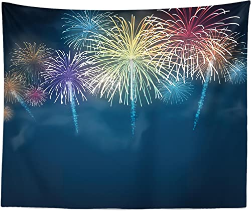 Lunarable Fireworks Tapestry King Size, Night Sky Background Vibrant Color Fireworks Special Event, Wall Hanging Bedspread Bed Cover Wall Decor, 104 X 88 , Night Blue and Multicolor