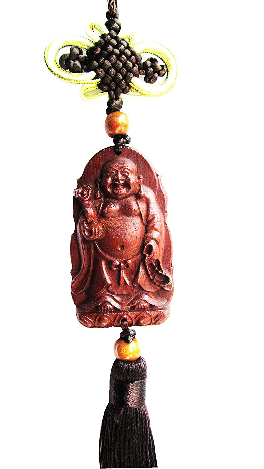 CHN Elements.home&kitchen WCH13-Peach Wood Carved Feng Shui Lucky Charm-Buddha For Happiness & Wishes Come True China Elements