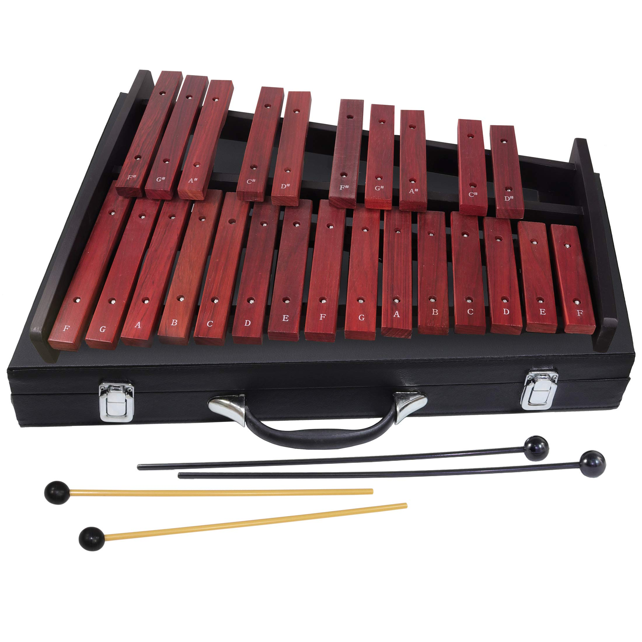 Wooden Xylophone for Adults - 25-note Xylophone with professional case - 4 mallets - Notes for Beginners