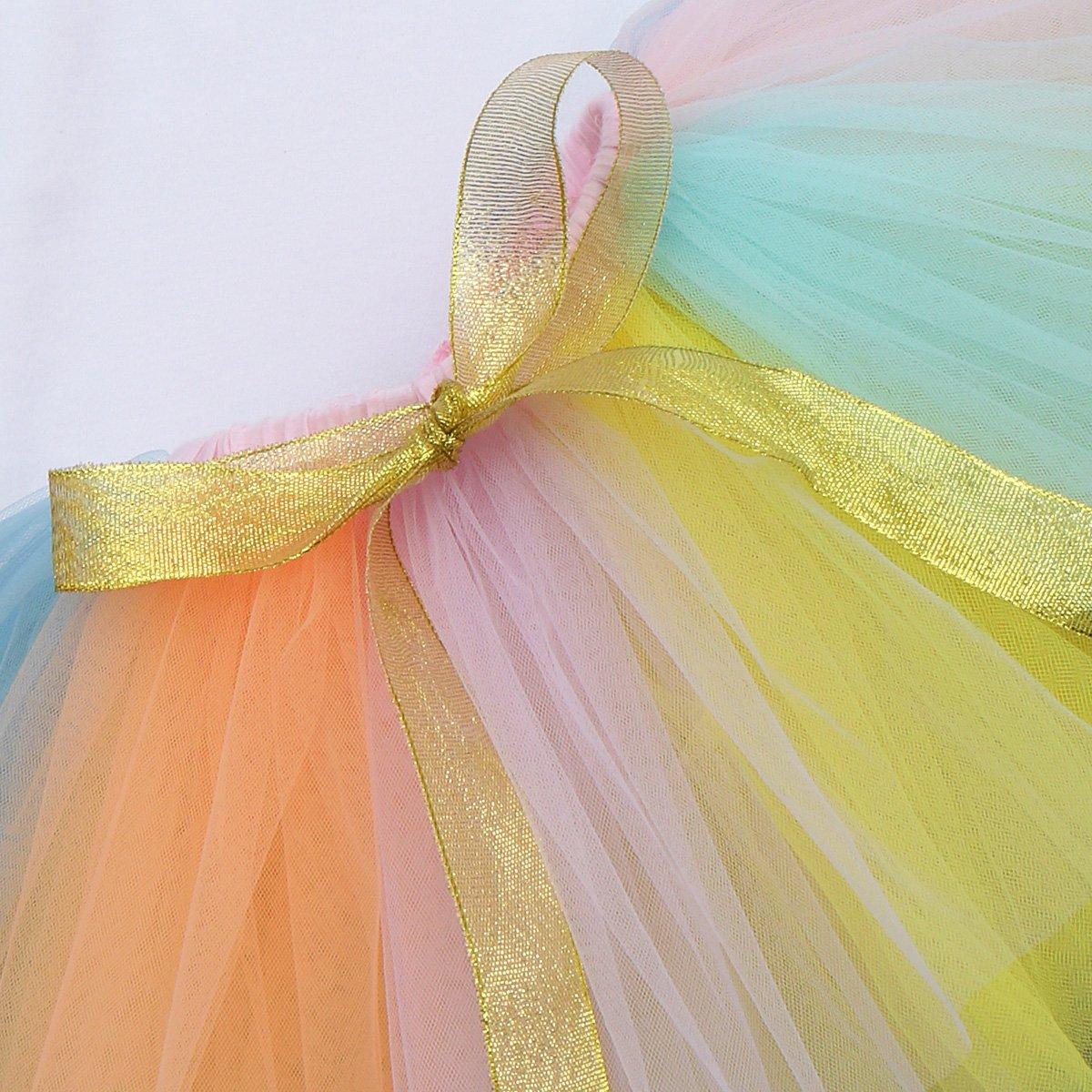 Unicorn Outfits Baby Girl Romper Ruffle Tutu Skirt Headband First Birthday Party Clothes 3PCS Set