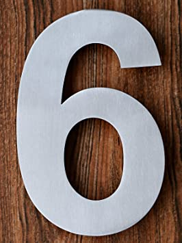 QT Modern House Number 6 Inch Brushed Stainless Steel Number