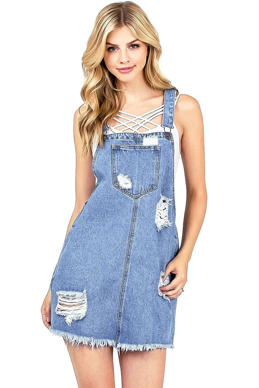 c27376063b Cello Women s Juniors Vintage Wash Denim Overall Dress at Amazon Women s  Clothing store