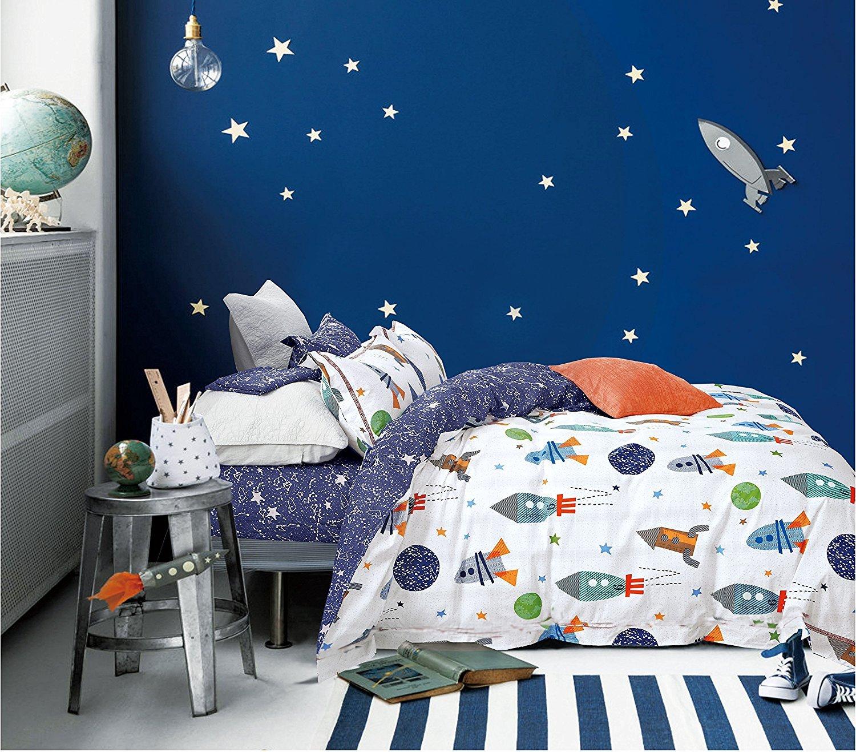 Cliab Space Bedding For Girls Queen Size Kids Duvet Cover Set 100/% Cotton 5 Pieces 3891493