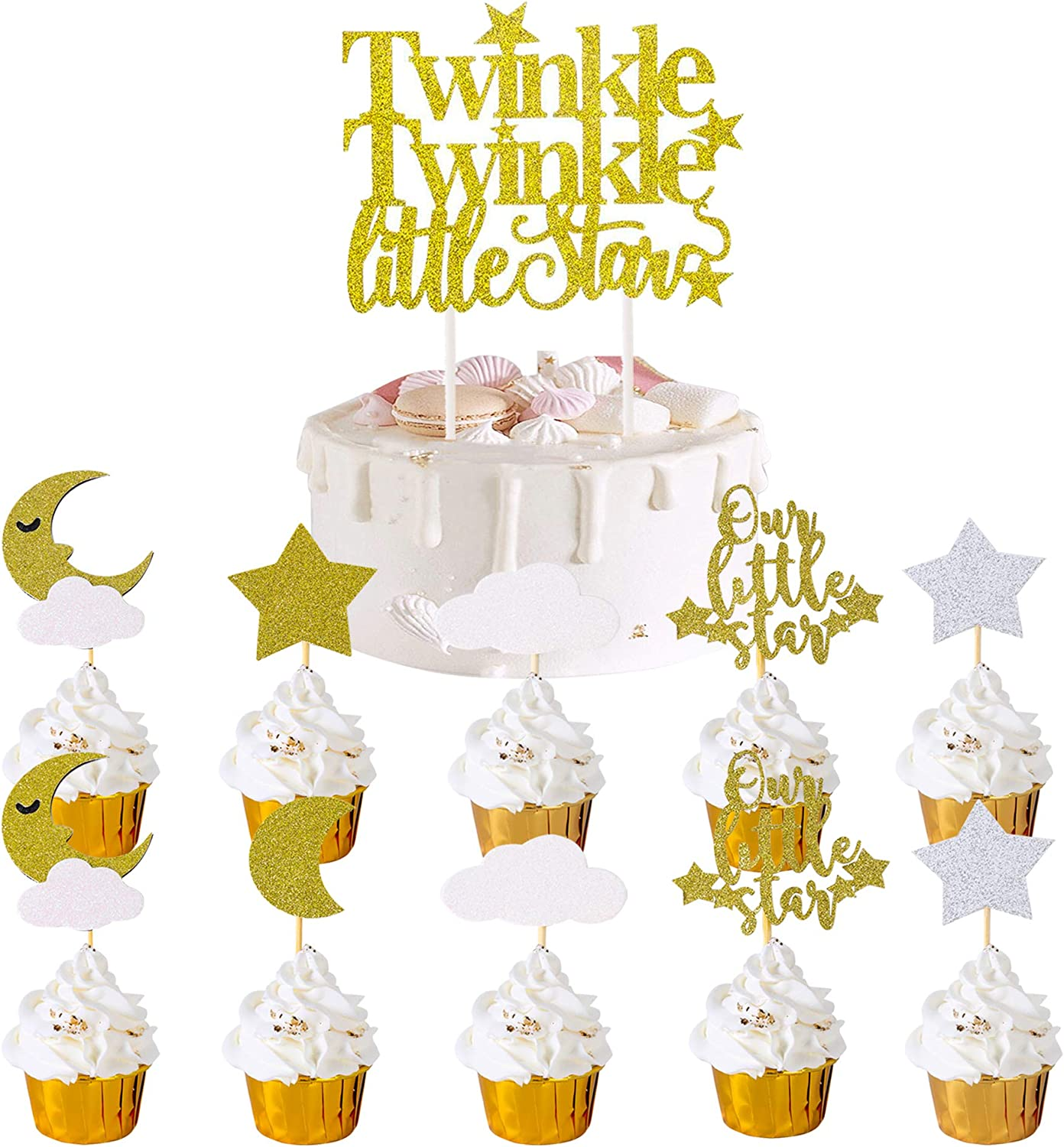 Twinkle Twinkle Little Star Cupcake and Cake Toppers (set of 25),Glitter Decoration Baby Shower Moon Food Picks Sticks Wedding Birthday Party Favors Little Star Cupcake Toppers Star Theme Gender Reveal Supplies