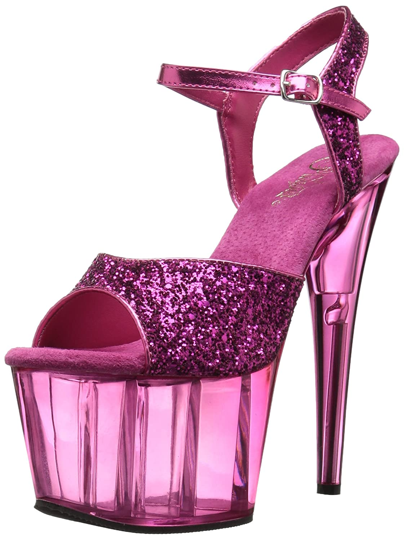 Fesselriemchen Sandaletten Heels Adore-710 - sexy High Heels Sandaletten von Pleaser H. Pink Glitter/Pink Tinted e94b24