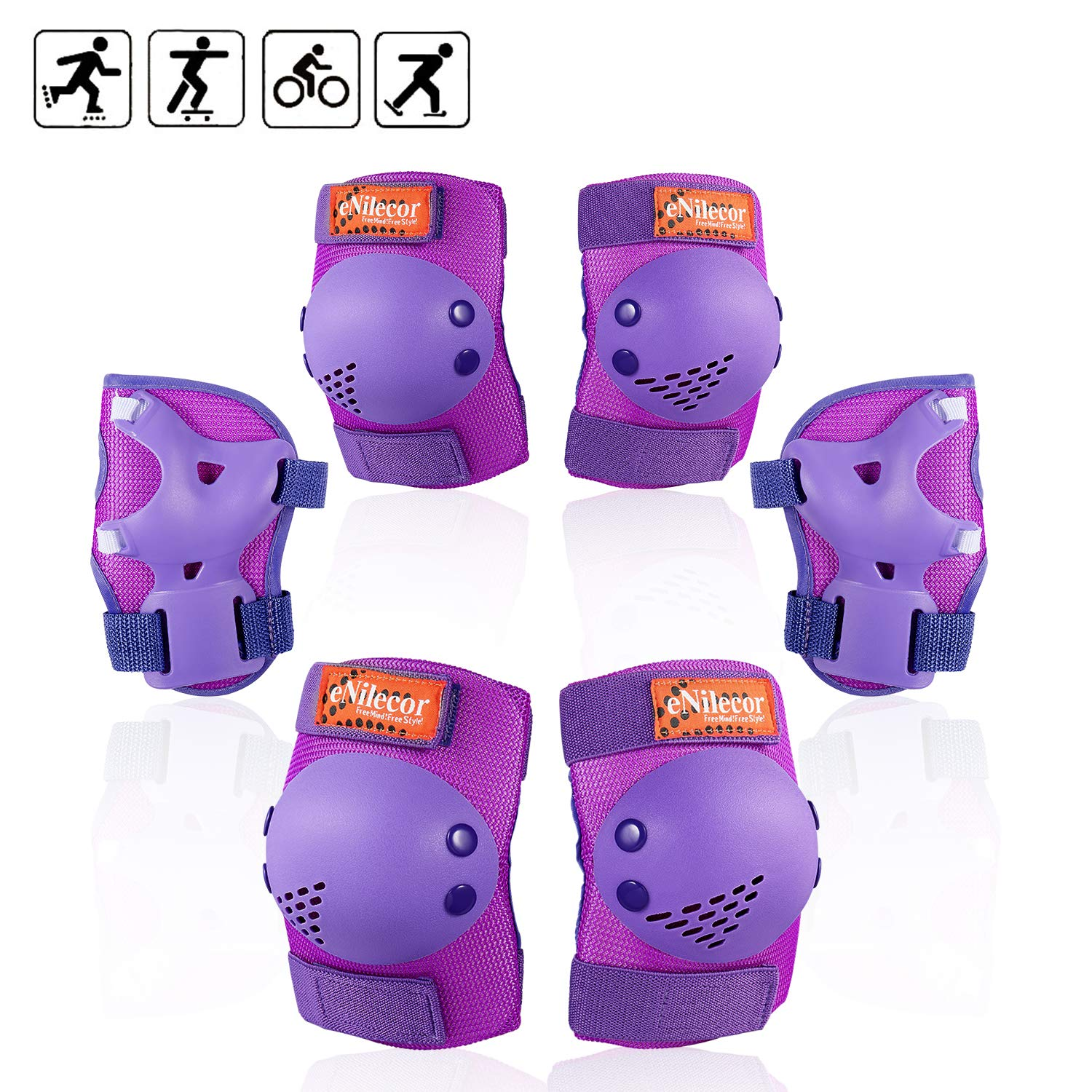 eNilecor Knee Pads for Kids Youth Rollerblade Roller Skates Cycling Elbow Pads Wrist Guards Protective Gear Set for BMX Bike Skateboard Inline Skatings Scooter Riding Sports