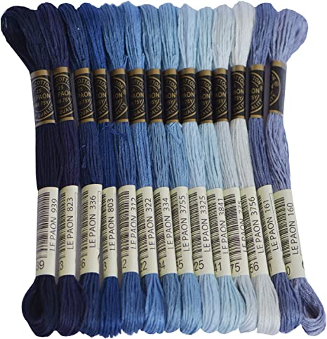 Cross Stitch Threads Bright Turquoise Gradient Crafts Floss 14 Skeins Per Pack Embroidery Floss Friendship Bracelets Floss Premium Rainbow Color Embroidery Floss