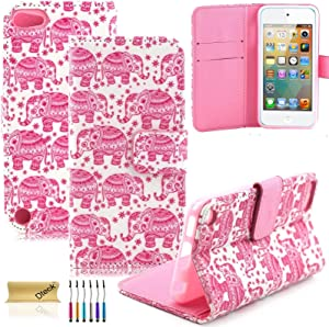 Dteck iPod Touch 5 Case, iPod Touch 6 Case, (TM) Fancy Cute PU Leather Stand Wallet Type Magnet Case [Cards/Money Holder] Flip Fold Cover for Apple iPod Touch 5th 6th Gen 4 inch (3 Pink Elephant)