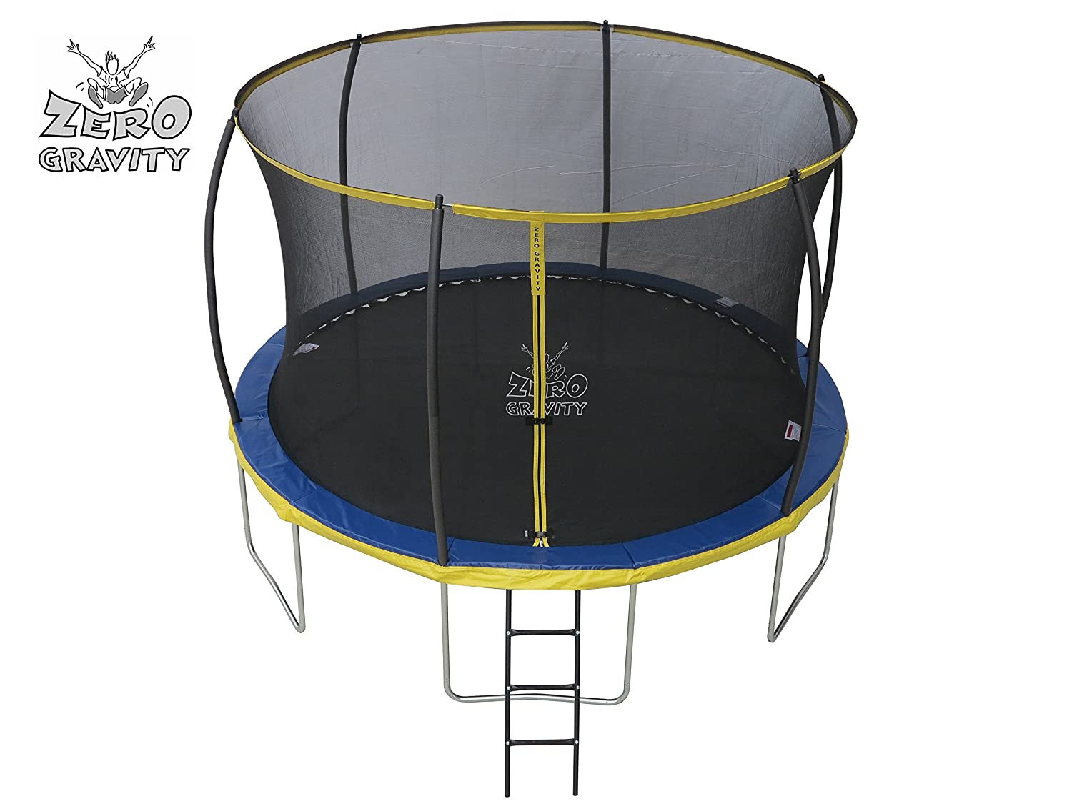 Zero Gravity Kinder Ultima 4 with Safety Enclosure Netting and Ladder High Spec Trampoline 183cm Blue//Yellow