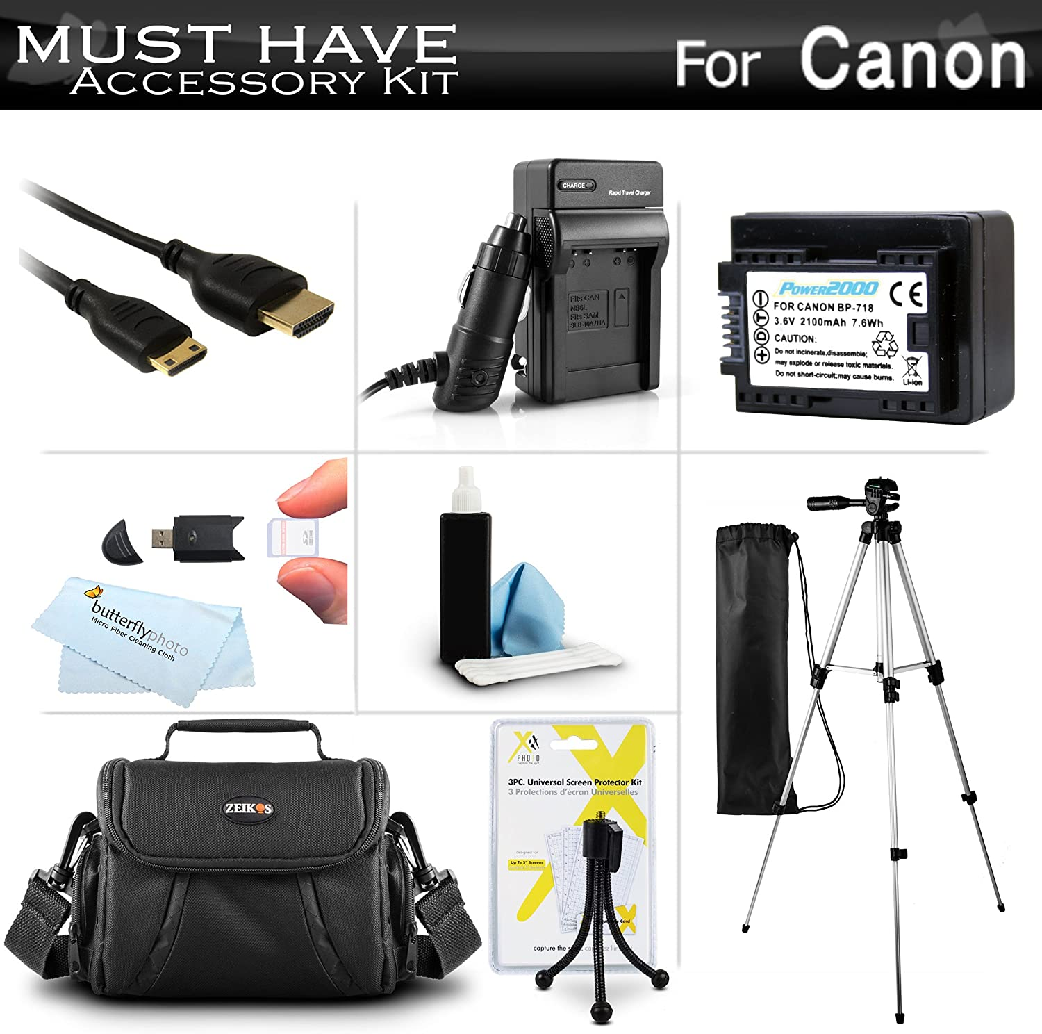 2 Units + AC//DC Travel Charger Microfiber Cleaning Cloth. Canon VIXIA HF R600 High Capacity Intelligent Batteries