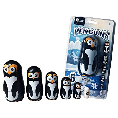 Penguin Family Nesting Dolls - 6 Unique Matryoshka Penguins - All Hollow to Fit Inside Each Other: Toys & Games