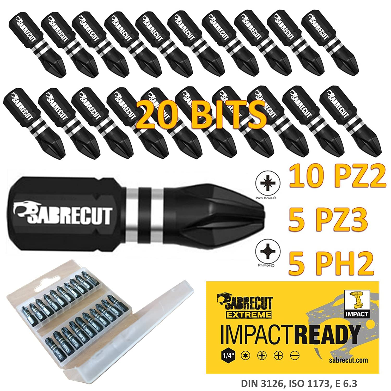 5x SabreCut Impact Rated Screwdriver Dill Bit Holders For Impact Drivers PZ2 PH2