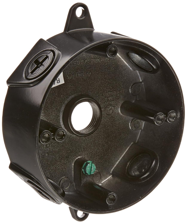 RAB Lighting VXCB Weatherproof Round Box with No Cover Aluminum 1 2 Hole Size Black