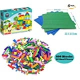 4 Baseplates + 800 Toy Building Bricks Blocks 100% Compatible with All Major Brands Large Sheets 10x10 Inches great for Activity Table Boards 2 Blue 2 Green
