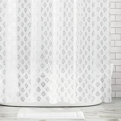 MDesign Decorative Embossed PEVA 3G Shower Curtain Liner Mold Mildew Resistant ODORLESS